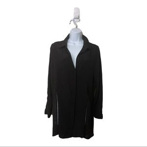 MINKPINK Black Button Up With Back And Side Detail